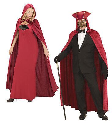 WIM 3569B Roter Umhang mit Kapuze Samt Mittelalter Karneval Kostüm Cape Mantel