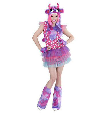 Monster Girl pink Kleid Kopfteil Handschuhe Stulpen Kostüm Karneval süß Größe S (Monster Girl Kostüme)