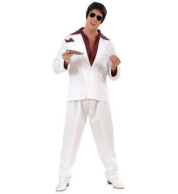 White Gangster Suit Fancy Dress Costume Rapper Al Capone Outfit M Mens Adult