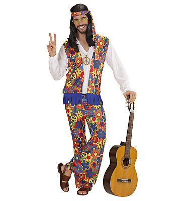 Fasching Karneval Herren Hippie Anzug Kostüm Schlager 70er Jahre Flower Power - Herr Herren Kostüm