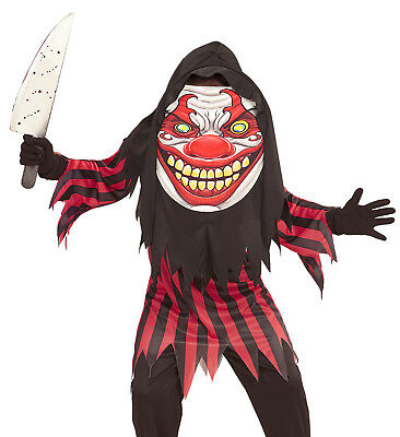 Killerclown Kostüm Kinder, Tunika, Riesenmaske mit Kapuze Gr. 158