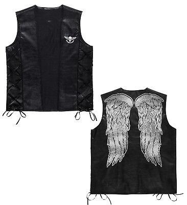 Fasching Karneval Kostüm Damen Herren Rocker Biker - Herren Schwarz Engel Flügel Kostüm