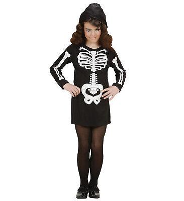 Skelett Kostüm Kleid m. Kapuze + Glitzeraufdruck Knochen Kinder - Skelett Kleid Kind Kostüm