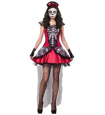WIM 07611 Fasching Damen Kostüm Tag der Toten Mujer Braut dia de los Muertos