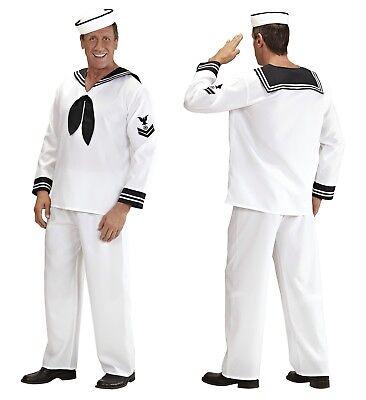 Kostüm Matrose Seemann Schiffsjunge Marine Herren Männer Karneval weiß Gr. S