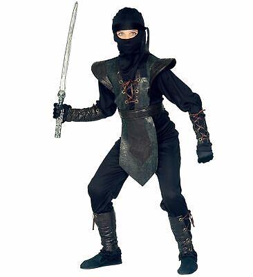 6 tlg.Ninja Kostüm Kinder Jungen schwarz Brustpanzer EDEL 128 140 - Brustpanzer Kostüm