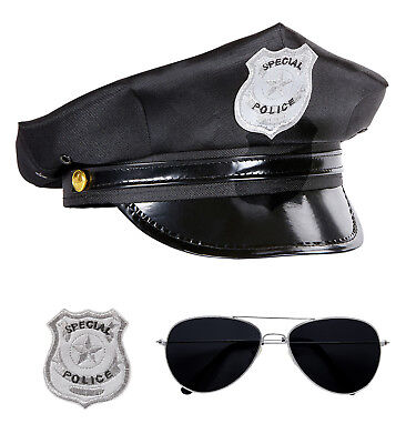 Wim Fasching Kostüm Zubehör Polizei Set Polizeimütze Brille und Marke Mütze Hut