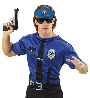 IAL 07407 Polizist Karneval Herren Blau Kostüm Shirt Polizei Police FBI T-Shirt