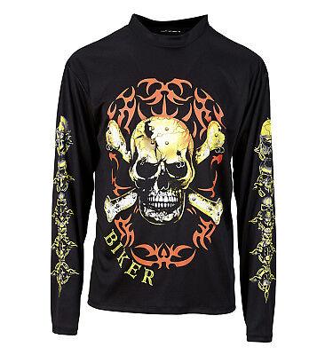 Toter Rocker Kostüm (WIM 49002 Totenkopf Biker Rocker Shirt T-Shirt Knochen Fasching Herren)