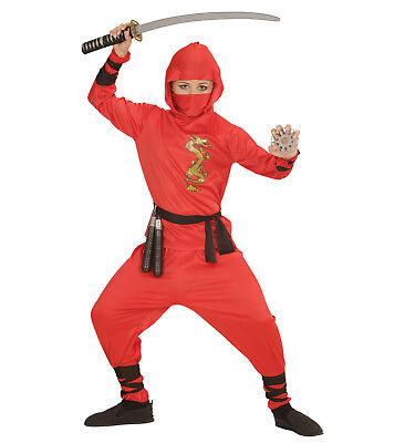 red dragon Ninja Kostüm Verkleidung Set Karneval rot Größe 128 5-7 years