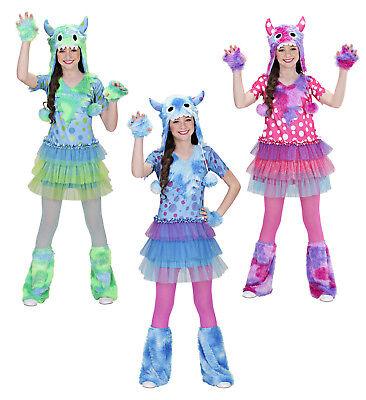 WIM 0159V Fasching Halloween Damen Kostüm Monster Girl blau grün pink plüsch
