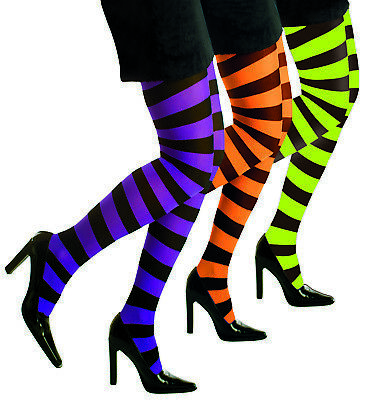 Strumpfhose,Neon L-XL gestreift,Ringelstrumpfhose Damen 70 DEN grün,orange lila
