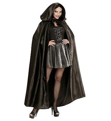 Widmann S.r.l. Umhang Schwarz Satin Überwurf Cape Vampir - Satin Vampir Cape Kostüme