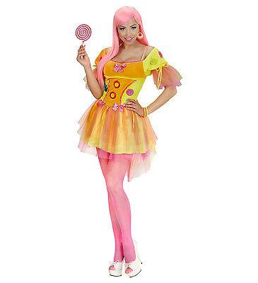 WIM 49401 Candy Lolly Neon Fantasy Girl Clown Fasching Karneval Damen - Candy Clown Kostüm