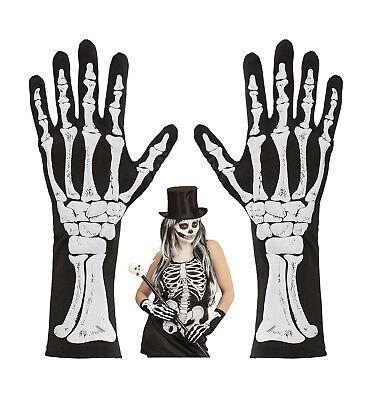 schwarze Skelett Knochen Finger Handschuhe halblang Damen Halloween ()