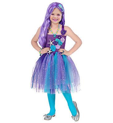 Meerjungfrau Kostüm Kleid Mädchen Kinder 2tlg Gr 116 Strumpfhose türkis Makeup