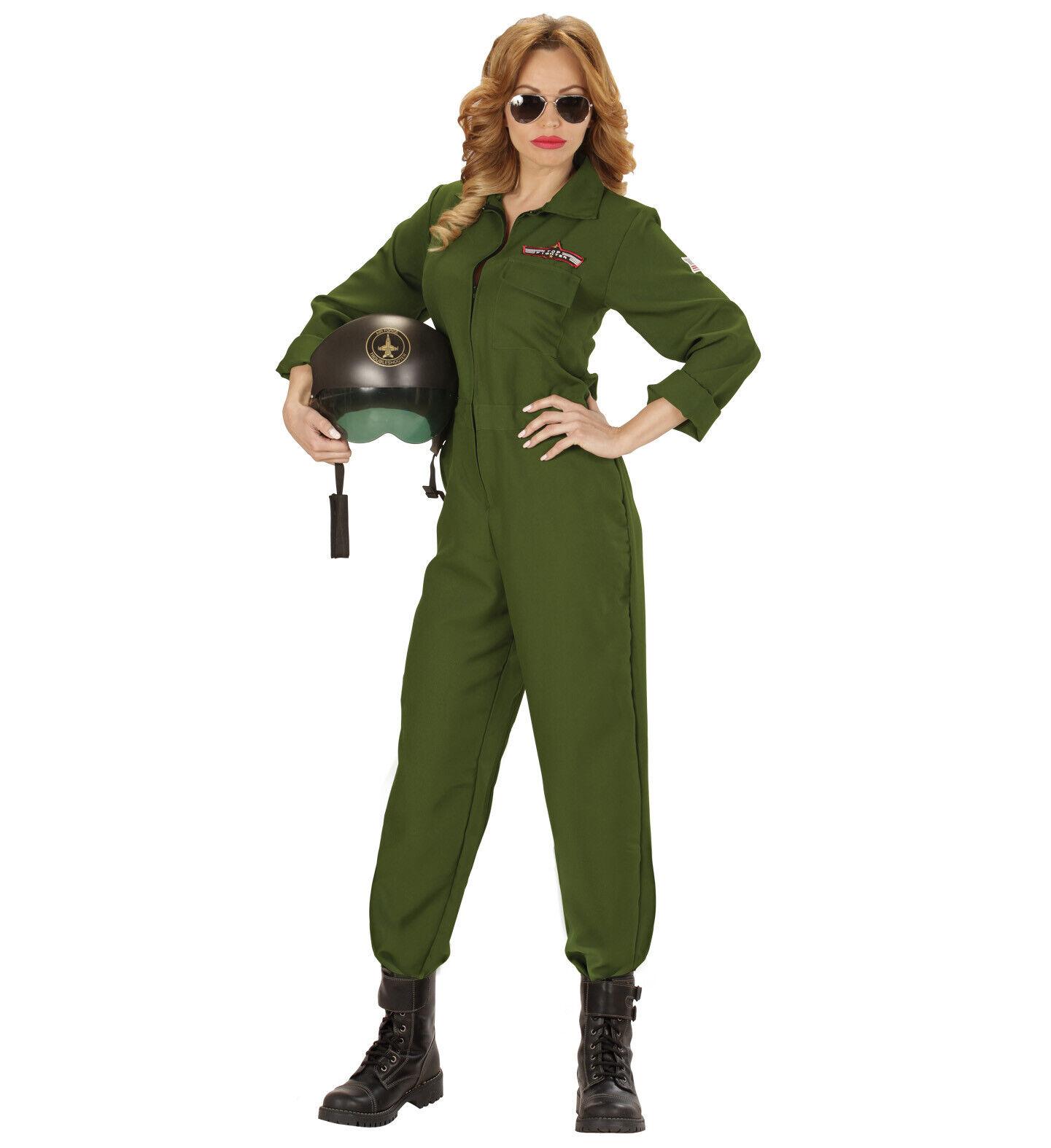 PILOTIN Kampfjet Damen Classic Kostüm Mottoparty Pilot Jet Top Gun Karneval, (K)