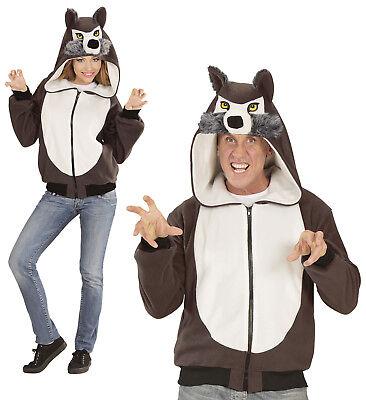 ANT 07016 Fasching Kostüm Wolf Hund Unisex Fleece Jacke mit Kapuze Wolfkostüm (Hund Kostüm Wolf)