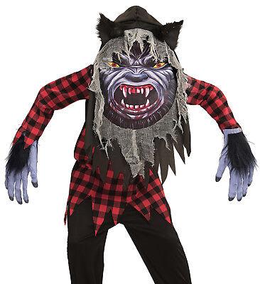 Werwolf Kostüm Kinder, Tunika, Riesenmaske mit Kapuze -