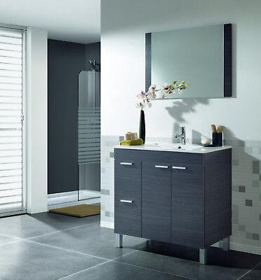 Mueble para baño o aseo gris ceniza con espejo y lavamanos PMMA...
