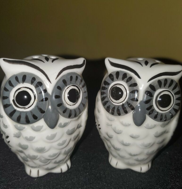 Pair Of Ceramic White and Grey/ Black eyes Owl Salt and Pepper Shakers Pre-Owned