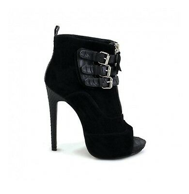 Buckle Detail Black Stiletto High Heel Platform Pump Bootie Ankle Boots Shoe High Heel Platform Pump