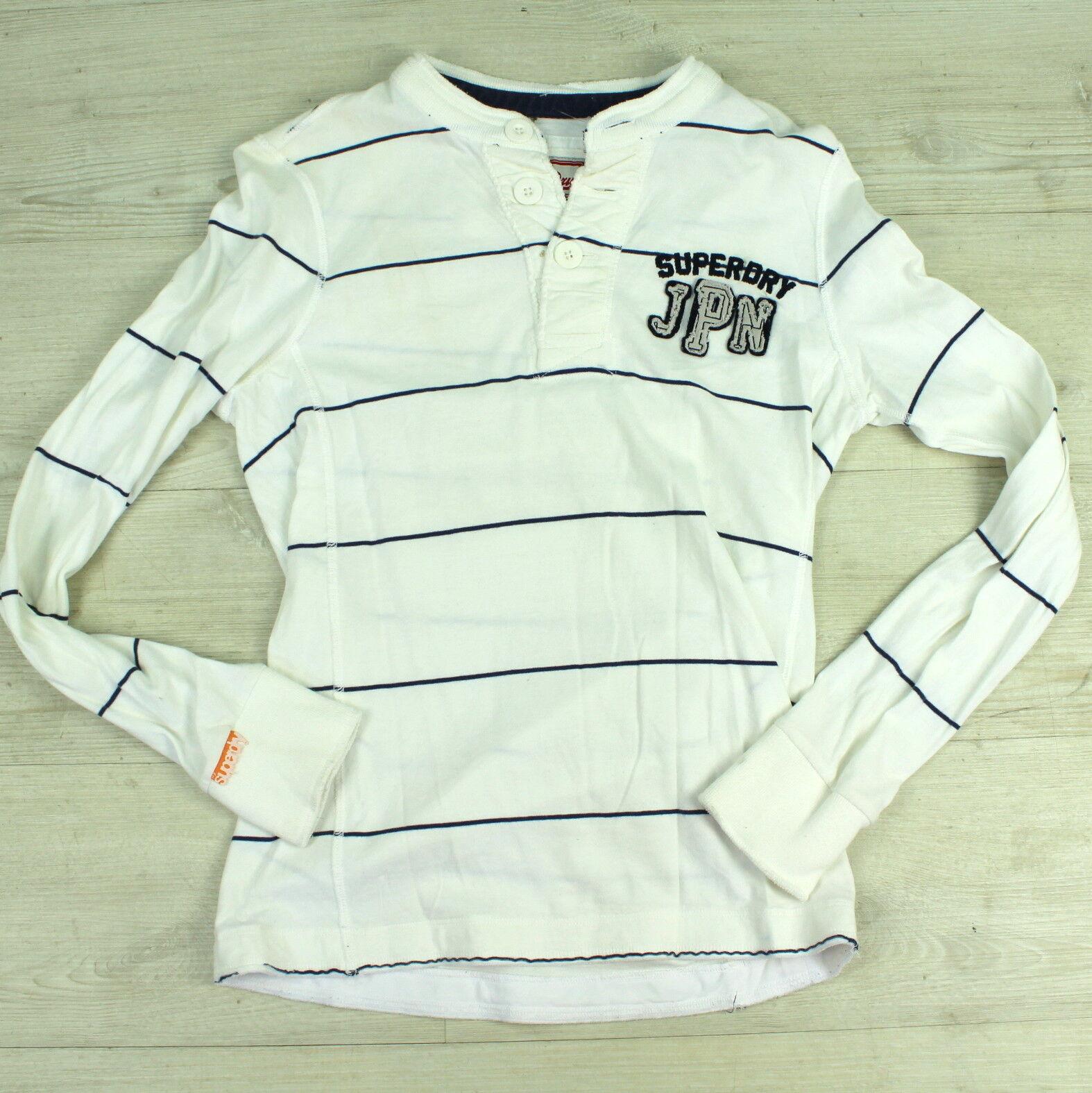 SUPERDRY Herren Gr. S Poloshirt Langarmshirt Pullover Weiss Blau A5927
