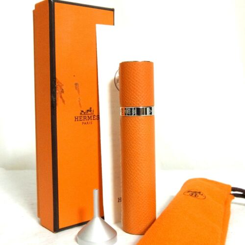 Auth Hermes Orange Leather Refillable Atomizer Perfume Case 10 ML Good in Box