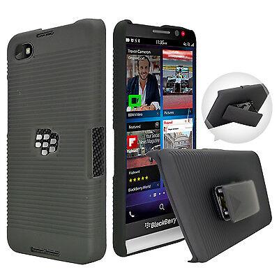 FOR BLACKBERRY Z30 BLACK RUBBERIZED HARD CASE COVER + BELT CLIP HOLSTER STAND Hard Case Cover Blackberry