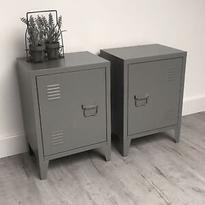 Perfect PAIR Of Urban Loft Bedside Tables / INDUSTRIAL VINTAGE LOCKER STYLE SIDE  TABLES