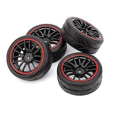 (4pcs 12mm Hub Wheel Rims & Rubber Tires for RC 1/10 on-road Touring Drift Car R)