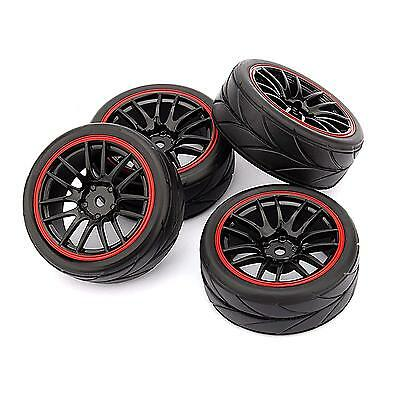 4pcs 12mm Hub Wheel Rims & Rubber Tires for RC 1/10 on-road