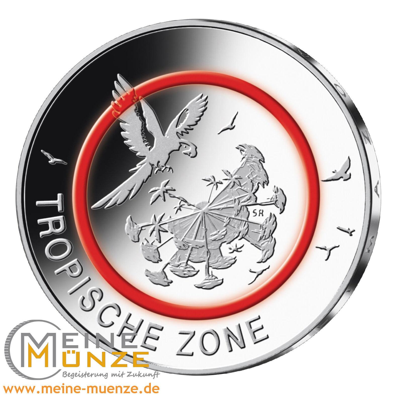 5 Euro Münze Tropische Zone Deutschland 2017 Stempelglanz mit Kapsel + Infoflyer