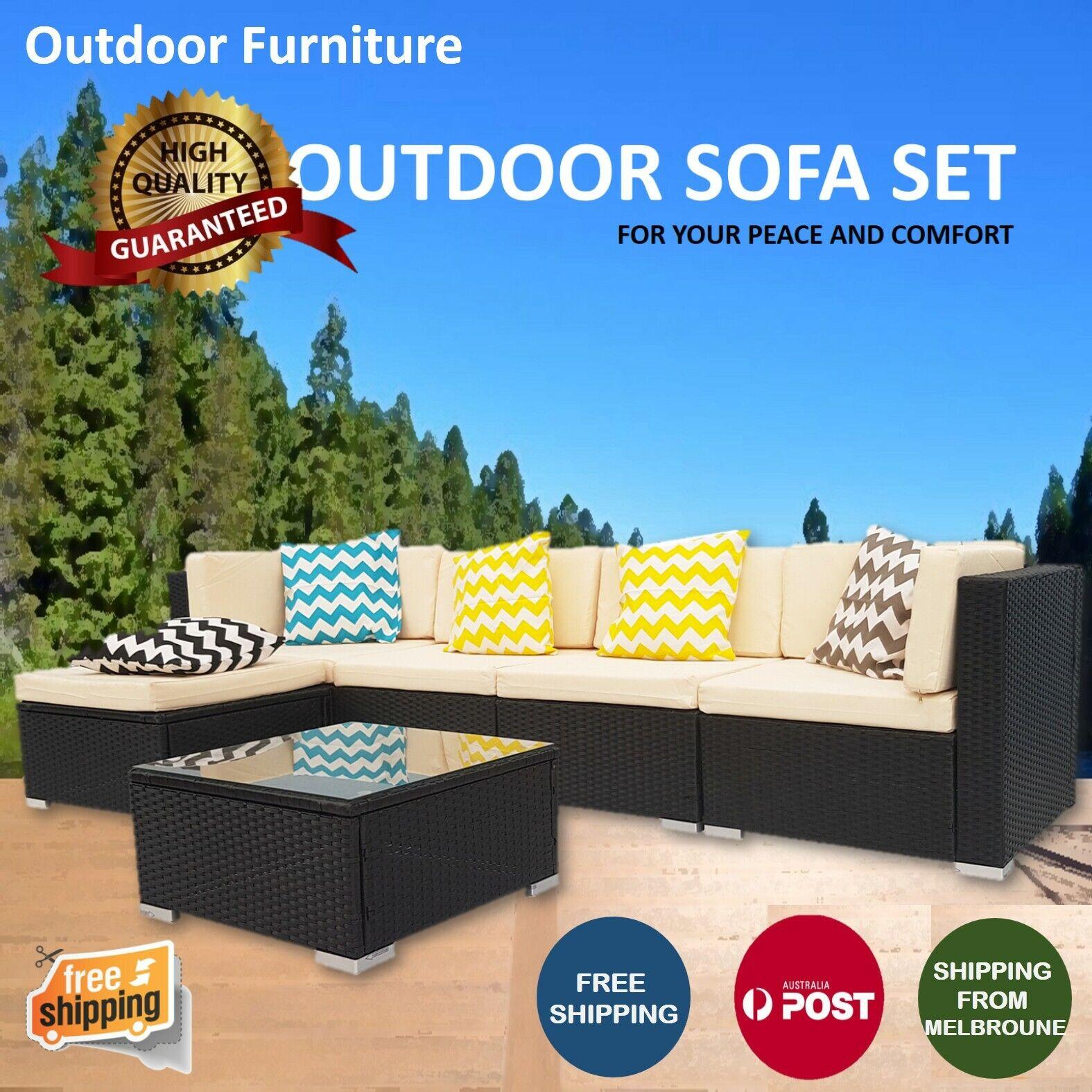 Garden Furniture - Outdoor Furniture Rattan Sofa Set Wicker Lounge Garden Patio Couch Setting AU