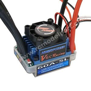 HP Racing 60A SL V2 ESC Regler Brushless Speed Controller for RC 1/10 1/12 Car