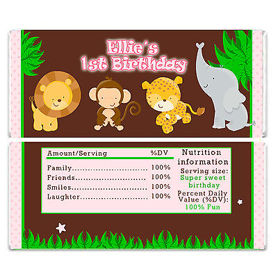 30 Personalized Jungle Animal Baby Shower Chocolate Candy Bar Wrappers Pink -