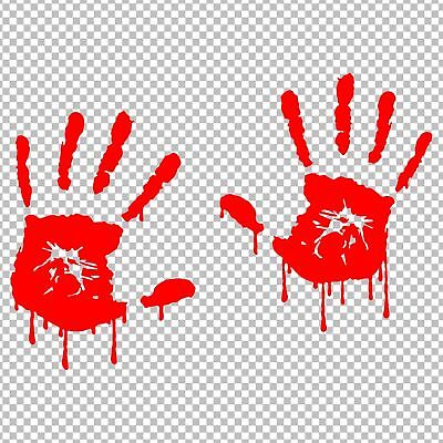 Bloody Hands (2 BLOODY ZOMBIE HANDS VINYL DECALS STICKERS CAR TRUCK)