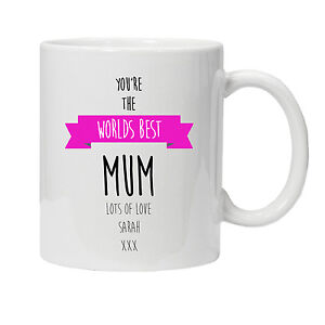 Personalised Worlds Best Mum/Mummy/Mom Mug-Birthday/Xmas Gift - Various Colours