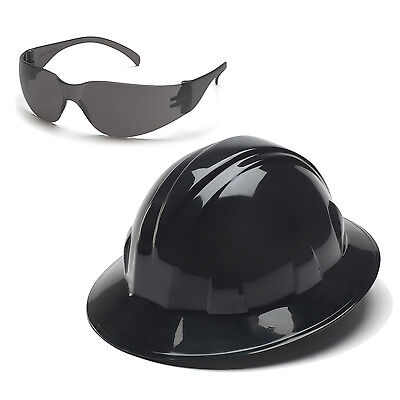 Pyramex Hard Hat Black Full Brim Gray Intruder Safety Glasses Hp24111 S4120s