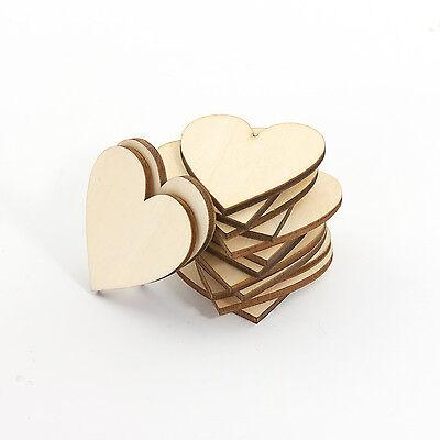 50 Stück Herz Holz Scheiben zur Dekoration Verzierungen Bearbeitung Handwerk