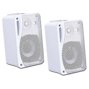 WHITE 2X Moisture Resistant Waterproof Speakers + Wall Mounts + Cable 80w