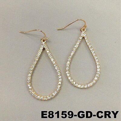 Elegant Round Tear Drop Shape Clear Rhinestones Gold Finish Hook Dangle Earrings