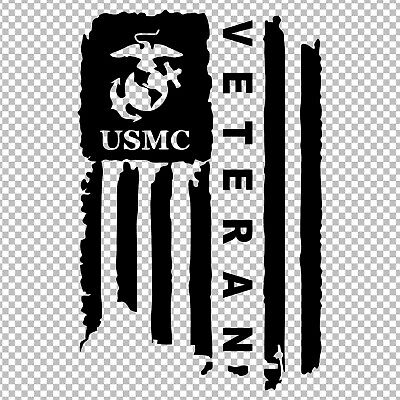 (MARINE CORPS VETERAN USMC AMERICAN FLAG DISTRESSED SEMPER FI VINYL STICKER DECAL)