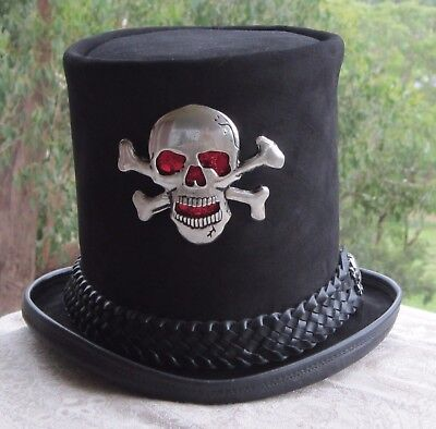 BLACK SUEDE LEATHER HALLOWEEN / DAY OF THE DEAD STEAMPUNK TOP HAT W. XL SKULL