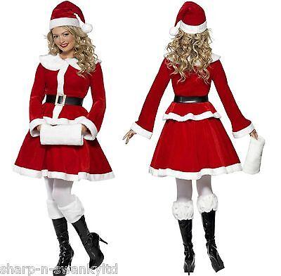 Damen Deluxe Miss Santa Weihnachten + Handmuffen Kostüm