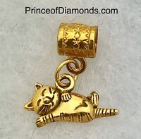 Gold coloured kitten sleeping bead fits pandora bracelet