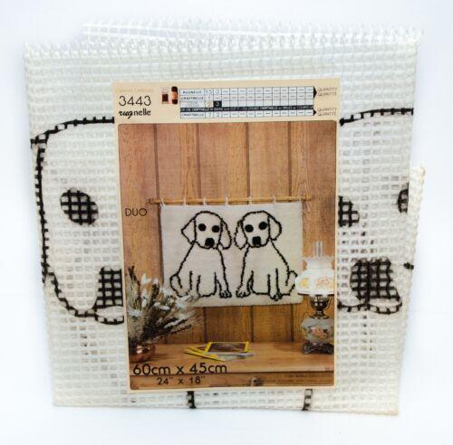 "Vintage Rugnelle Hook Rug Carpet Printed Canvas Duo Puppies 24"" x 18"" New #3443"