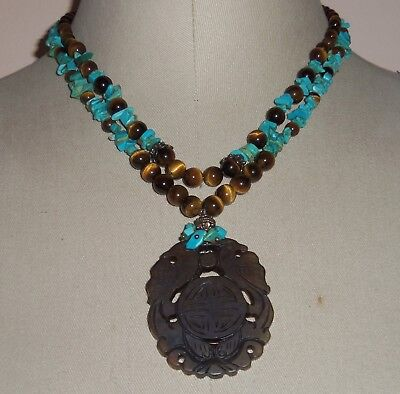 VTG Chinese Shou Carved Bird Pendant Turquoise Tiger Eye Bead Necklace SS clasp