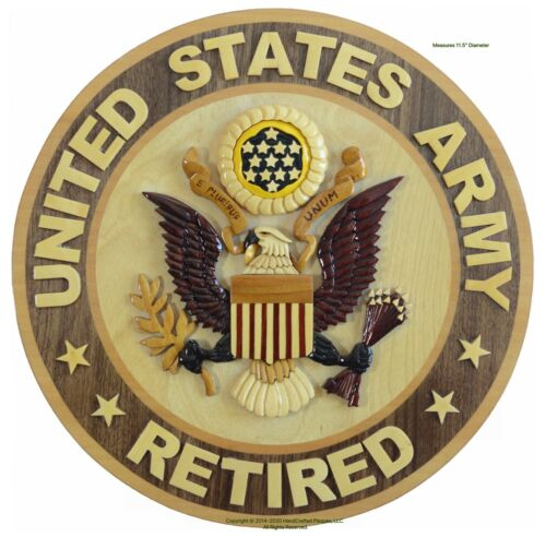 U.S. ARMY RETIRED EMBLEM - ARMY PLAQUE - Handcrafted Military Wood Art Plaque