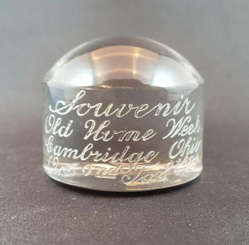 Cambridge Glass Old Home Week October 1921 Souvenir Paperweight RARE